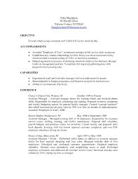 Examples Resumes Resume Template Summer Job Objective Restaurant