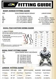 Goalie Pad Sizing Chart By Height Index Of Universalimages