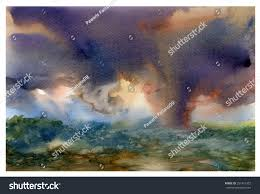 watercolor painting of storm clouds over mountains