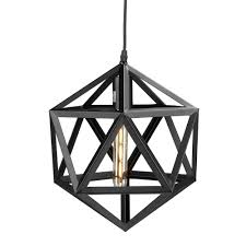 perdue 1 light matte black geometric cage pendant lamp hd88227 the home depot