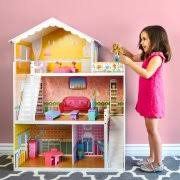 wooden barbie dollhouse furniture. perfect wooden best choice products large childrens wooden dollhouse fits barbie doll house  pink with 17 pieces of furniture