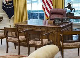 west wing oval office. fine oval the resolute desk is seen in the newly renovated oval office of white  house washington tuesday aug 22 2017 during a media tour throughout west wing