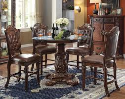 counter height dining table set. Acme Vendome 5PC Round Counter Height Dining Room Set With Beveled Glass Top In Cherry By Rooms Outlet Table