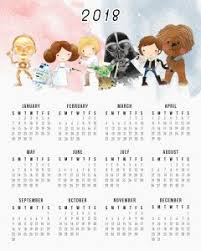 one page calender free printable one page star wars 2018 calendar free printables com