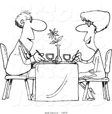 Restaurant Coloring Page Vector Of A Cartoon Couple Dining At A Restaurant Outlined