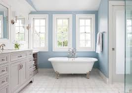 Blue and Gray Bathroom with Silver Claw Foot Bathtub