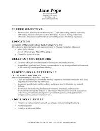Objective Of Resume For Internship personal objectives for resumes sweetpartner 54
