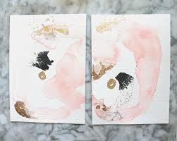 pair of two small abstract paintings sisters by jules tillman two original paintings with pink black and gold modern minimal art