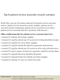 Pleasing Patient Service Associate Sample Resume With Additional
