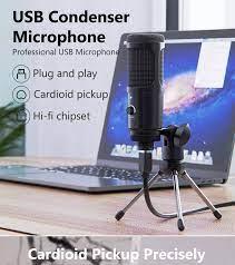 Bộ Ngưng Tụ USB Kim Loại PULUZ Ghi Âm Microphone Chơi Game Cho Máy Tính  Xách Tay Windows Ghi Âm Phòng Thu Cardioid Giọng Nói Trò Chuyện Qua Skype  Podcast