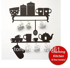 black wall hook kitchen rack utensil coffee cup mug hanger holder removable wall decor decal stickers by wall decals shop online for kitchen in australia on removable wall art stickers australia with funlife charming kitchen vinyl wall sticker decals stickers with 6