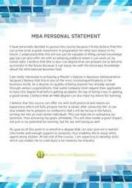 MBA in Finance Personal Statement