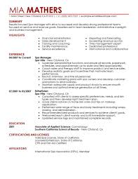 Spa Manager Resume Examples resume for spa manager Savebtsaco 1
