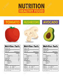 Vegetables Group With Nutrition Facts Vector Illustration Design