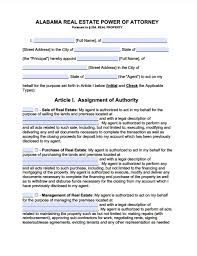 alabama real estate only power of attorney form