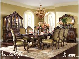 Dining Room Set With China Cabinet Michael Amini Chateau Beauvais 9 Piece Ornate Formal Dining Room
