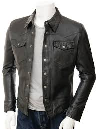 mens black leather shirt beaworthy front