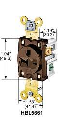 product datasheet hbl5461 2 pole 3 wire grounding 20a 250v 6 20r flush nylon face back side wired brown