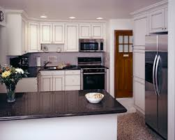 White Cabinets Brick Countertops Kitchen Black Granite Small Dark