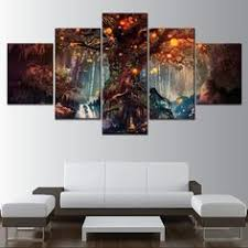 <b>Forest fantasy luminous</b> tree wall art canvas