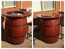 Wine barrell furniture Patio How To Make Wine Barrel Table With Built In Wine Bucket Instructables How To Make Wine Barrel Table With Built In Wine Bucket Steps