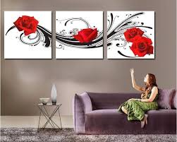 wall art flowers red
