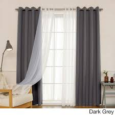 aurora home mix match curtains blackout and muji sheer 84 inch silver grommet 4 piece curtain panel pair vapor grey size 52 x 84 polyester solid