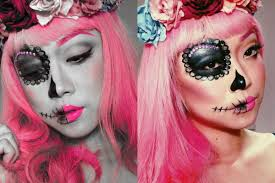 two faced sugar skull makeup by abs