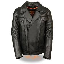 mens high end leather utility pocket vented cruiser jacket