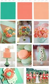 Color scheme Mint, Peach and Melon Wedding - love the colors together but  might need a different shade besides mint green.to match camo