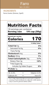 nutritional facts dry farro