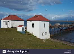 Historic buildings and pier of a former meat refrigeration plant ...