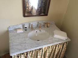 Carrara Vanity Top And Shaped Splashback With Ogee Edge Detail - Bathroom splashback