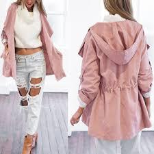 women warm hooded long coat jacket trench windbreaker parka outwear cardigan hot pink l
