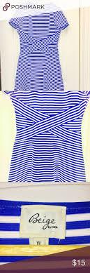 Beige By Eci Royal/ White Striped Dress Size XL