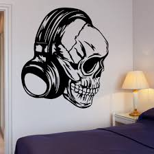 Skull Bedroom Decor Aliexpresscom Buy New Creative Skull Vinyl Wall Headphones