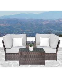 brown set patio source outdoor. Lucca Brown Wicker Cup Holder Table And Loveseat By Living Source International, Size 3- Set Patio Outdoor C