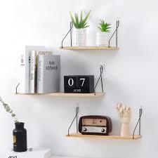 <b>Nordic</b> Wooden Wall Shelf Iron Partition Board Hanging Storage ...