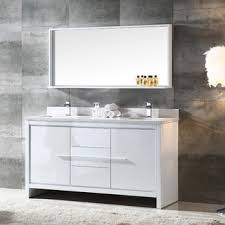 modern double sink bathroom vanities. Fresca Allier 60-inch White Modern Double Sink Bathroom Vanity With Mirror Vanities