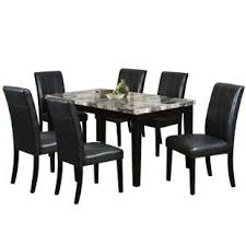 7 piece black dining room set. Wilcox 7 Piece Black Faux Leather Dining Set Room