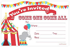 Birthday Party Evites Carnival Circus Invitations Birthday Party Or Baby Shower Fill In Style 20 Count With Envelopes By M H Invites