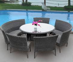round outdoor dining table wicker