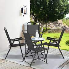 Costway set of 4 folding sling chairs patio furniture camping pool beach with armrest 2