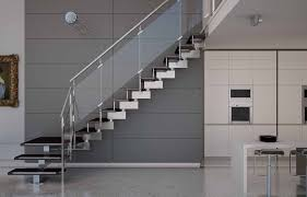Cool Straight Glass Stairs With Stainless Steel Handrail And Frosted  Acrylic Balustrade Panelling In Gray Stairwell Decoration Ideas