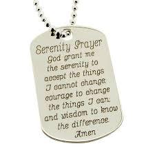 serenity prayer sterling silver dog tag