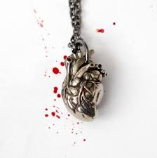 antique silver anatomical heart pendant