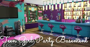 Party Bedroom Sims 4 Room Build Teen Girl Party Basement Youtube