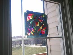 tissue paper stained glass kids craft