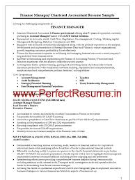 Fair Sample Resume Of Chartered Accountantindia In Finance Manager
