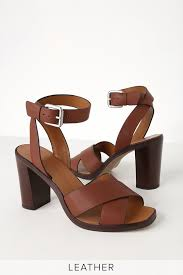 nala brown leather ankle strap heels
